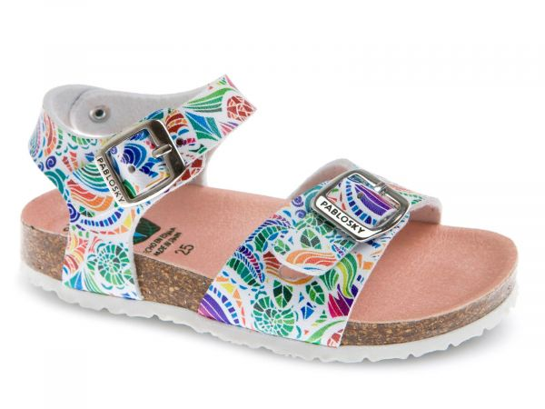 Multicoloured Girls Sandals with Traditional Buckle
