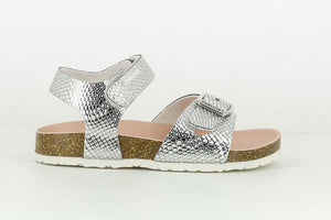 Silver Girls Sandal with Velcro Strap