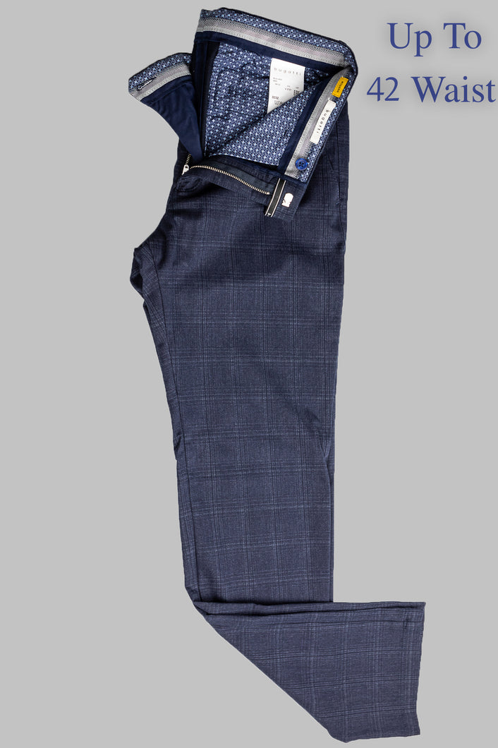 Bugatti 4930 66120 370 | Navy Chino with Subtle Large Check