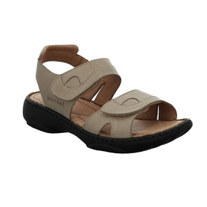 Ladies Adjustable Leather Sandal with Ripe Tape Fastening