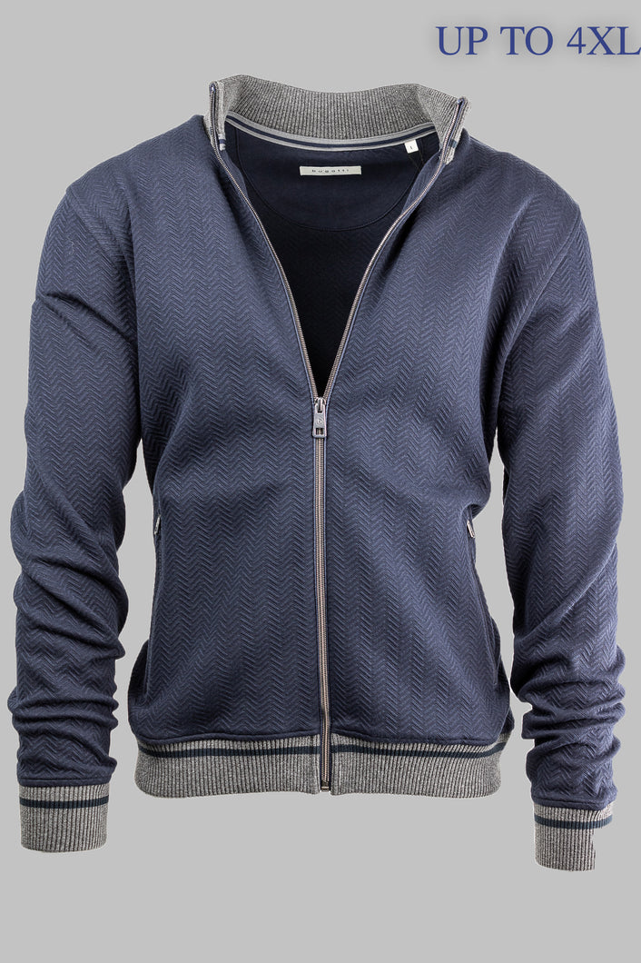 Bugatti 8750 65082 390 Navy Cardigan with Grey Contrast for sale online ireland