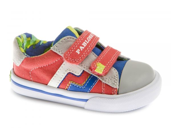 Velcro Boys Shoes with Stripe Contrast
