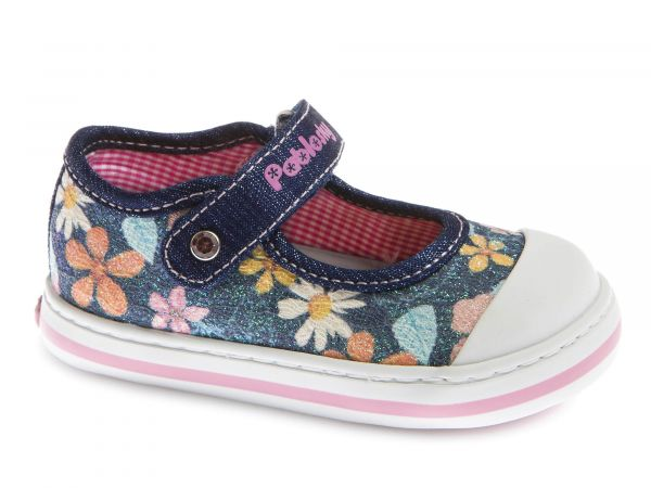 Floral Design Girls Velcro Shoe