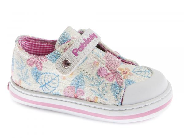 White Velcro Girls Shoe with Floral Print