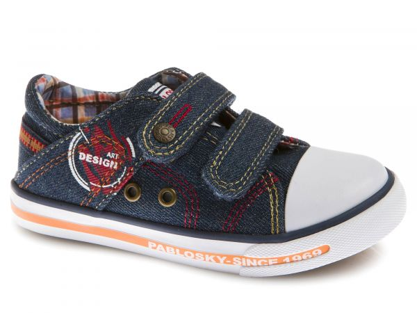 Velcro Boys Shoes with Red&Yellow Contrast Stitch