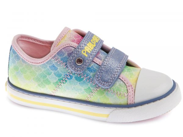 Girls Green&Blue Circle Print Velcro Shoe