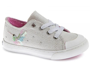 Zip&Lace Girls Shoe with Bird Design