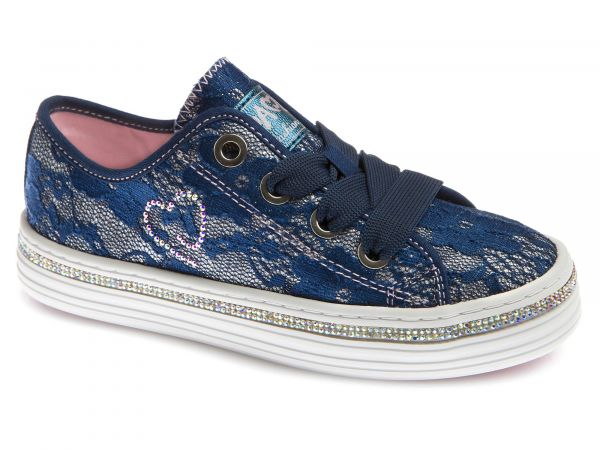 Blue Girls Shoe with Glitter Print