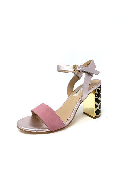 Amy Huberman | Blonde Crazy Ladies Block Heel Sandals Opal Mix Pink