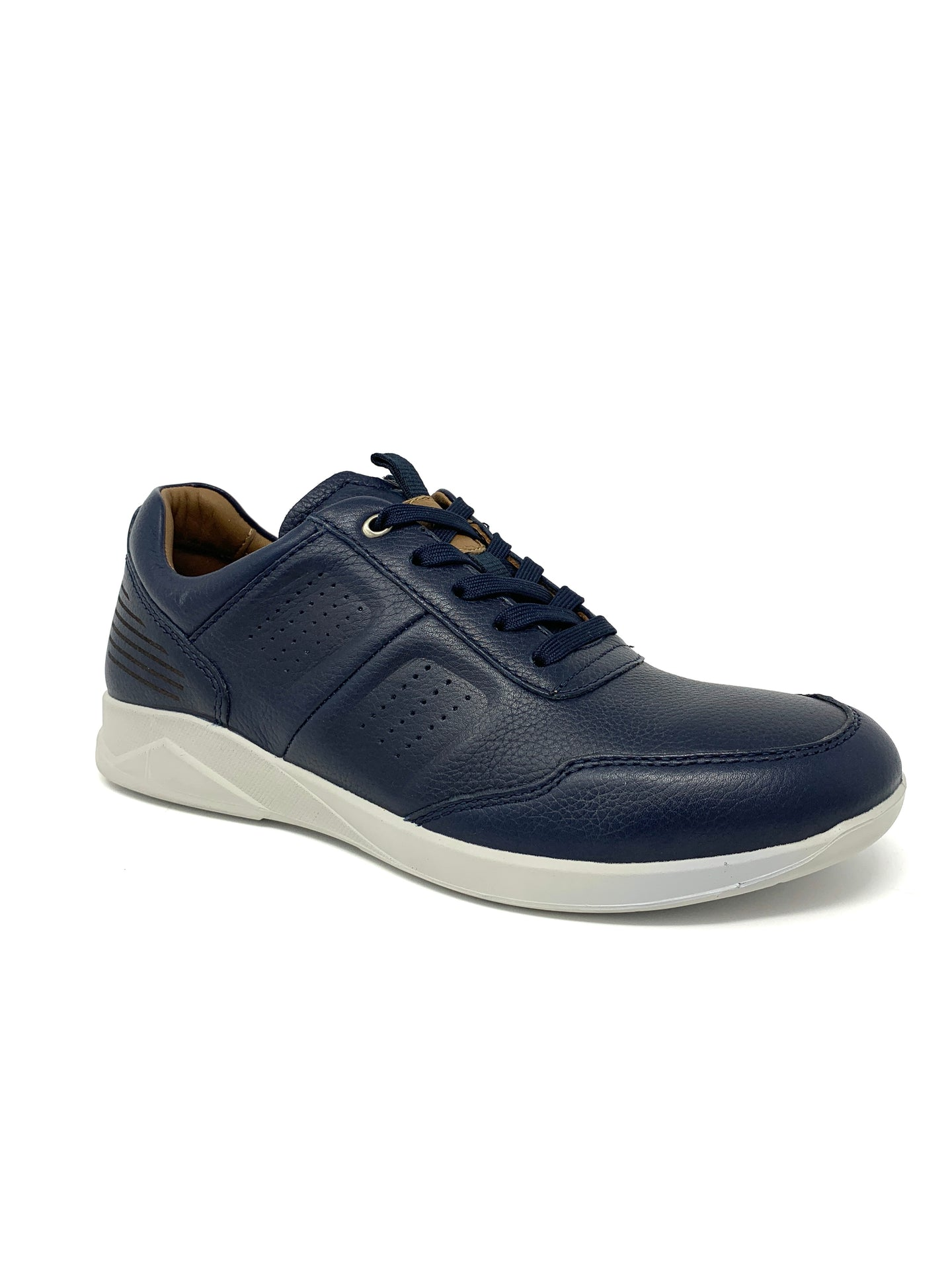 Blue Leather Trainers with Grey Sole