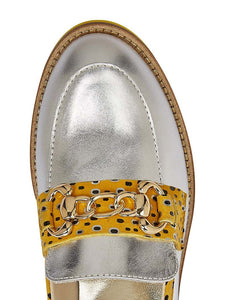 H840 Marco Moreo Bice Ladies Silver & Leopard Print Moccasin Shoe stocked online ireland
