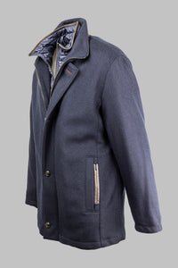 Bugatti 673300 64480 390 Navy Wool Coat with Quilted Insert for sale online ireland