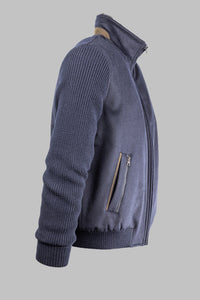 Bugatti 7600 65578 390 Navy Knit Wool Jacket with fur collar for sale online ireland