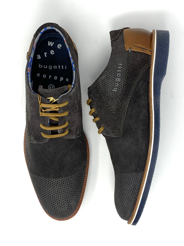 Suede Oxford Shoes with Contrast Lace&Heel