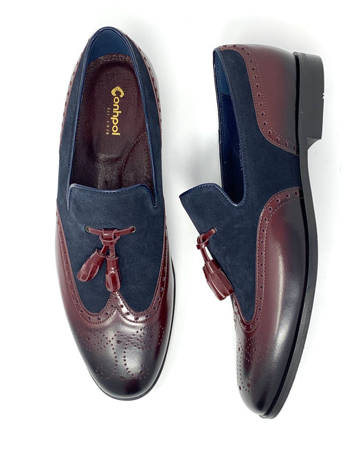 Mens Leather & Suede Contrast Tassel Loafers