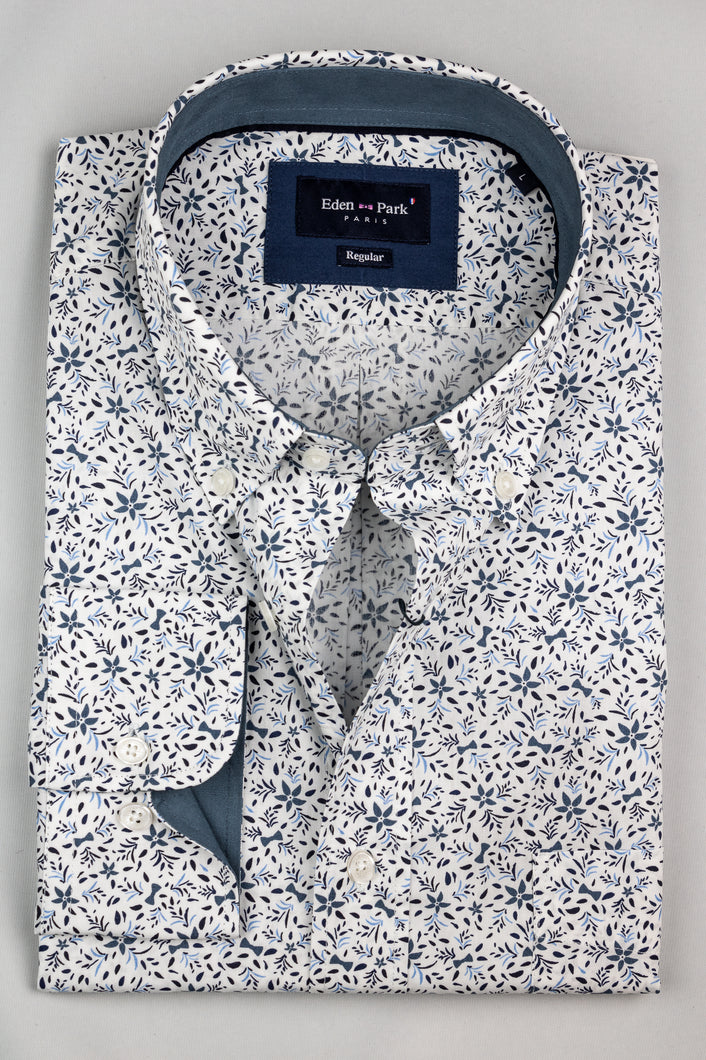 Eden Park H20CHECL0026 White Floral Men's Shirt for sale online ireland