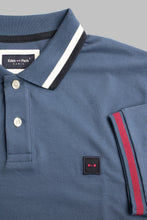 Load image into Gallery viewer, Eden Park E21MAIPC0002 | Classic Denim Blue Polo Shirt with Navy, White & Plum Tipping