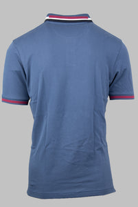 Eden Park E21MAIPC0002 | Classic Denim Blue Polo Shirt with Navy, White & Plum Tipping