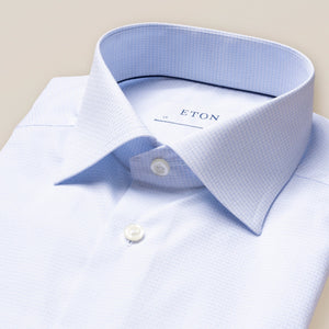 10000119321 Eton Blue Check Mens Shirt Contempory Fit stocked online ireland