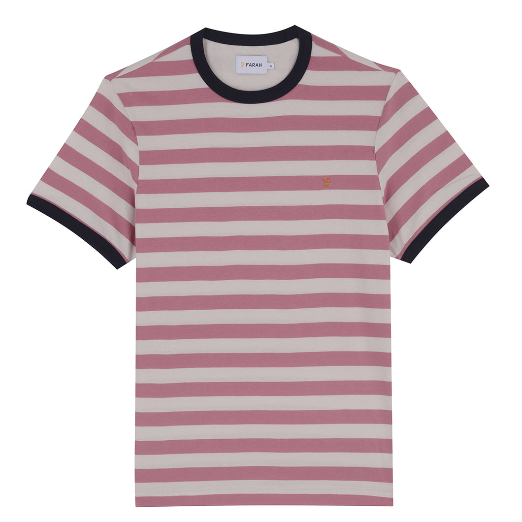 F4KF8066 668 Farah Slim Fit Men's Striped T-Shirt belgrove dusty rose for sale online ireland