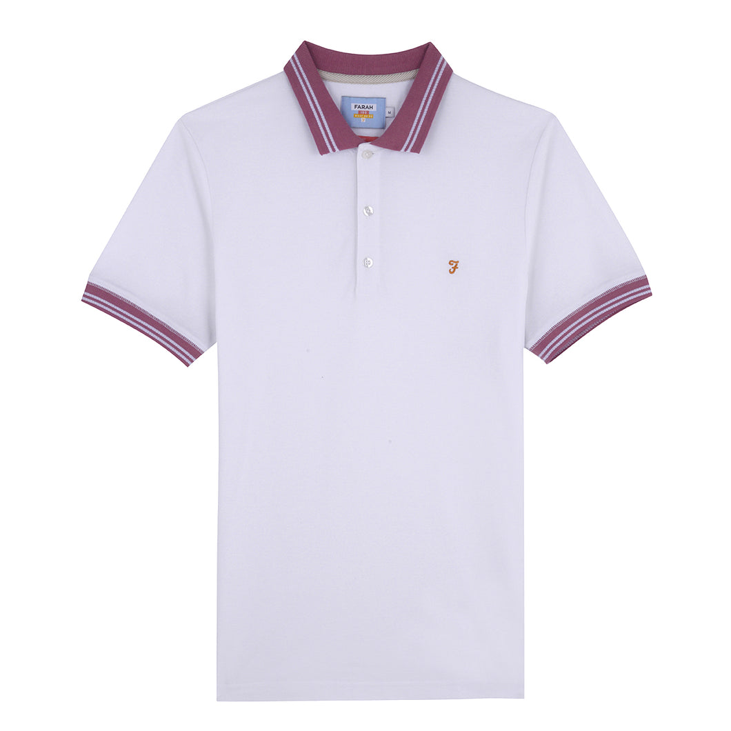 F4KSA038 Farah Stanton Mens Slim Fit Polo Shirt in White 104 for sale online ireland