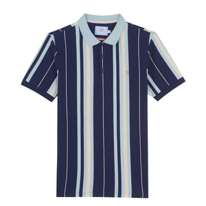 F4KSA043 996 Farah Wigwam Yale Blue Mens Slim Fit Striped Polo Shirt for sale online ireland