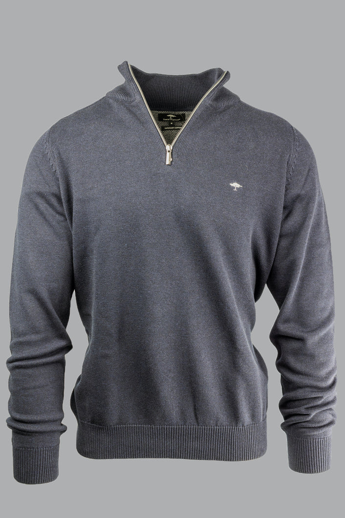 Fynch-Hatton 1220 202 Cotton Navy Half Zip Men's Jumper for sale online ireland
