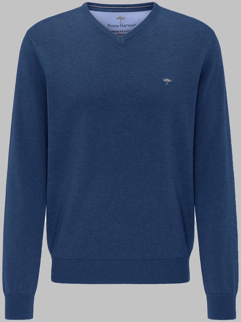 Fynch-Hatton 1220211 | Superfine 3 Ply Cotton V-Neck Knit