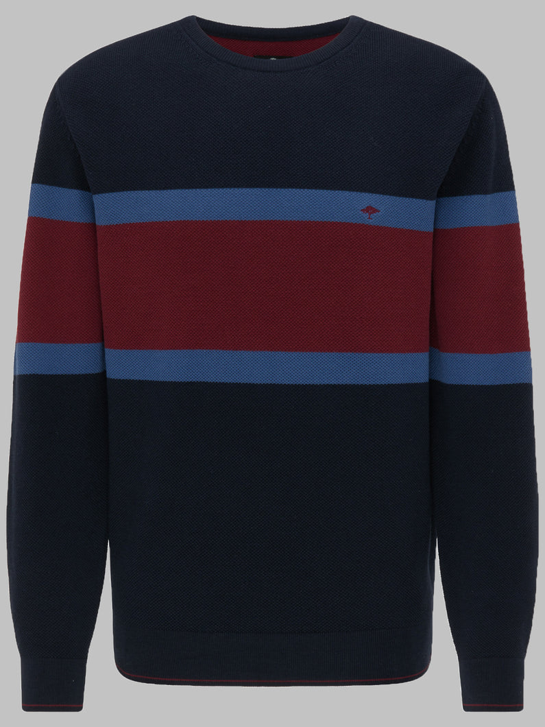 Fynch-Hatton 1220 602 Cotton Chest Stripe Crew Men's Jumper for sale online ireland