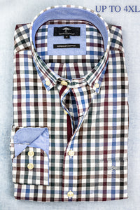 1220 8030 Fynch Hatton Green, Burgundy & Blue Check Men's Shirt Big sizes for sale online ireland