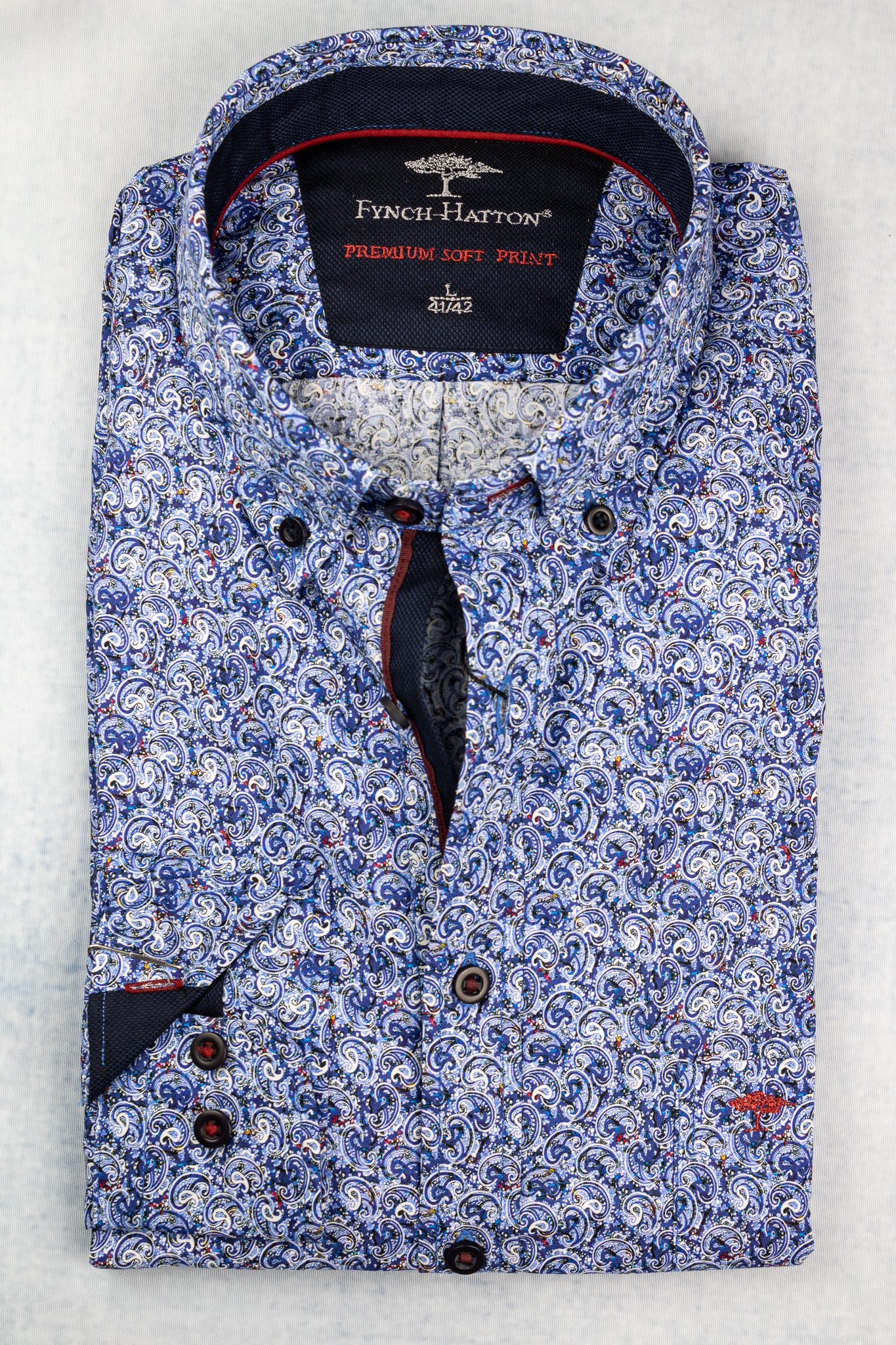 1220 6110 Fynch Hatton Blue Printed Men's Shirt for sale online Ireland