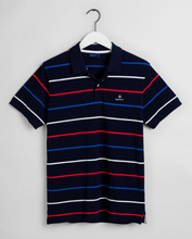 Load image into Gallery viewer, 2022000 105 Men's Stripe Cotton Polo Shirt for sale online ireland navy with red, blue and white stripe