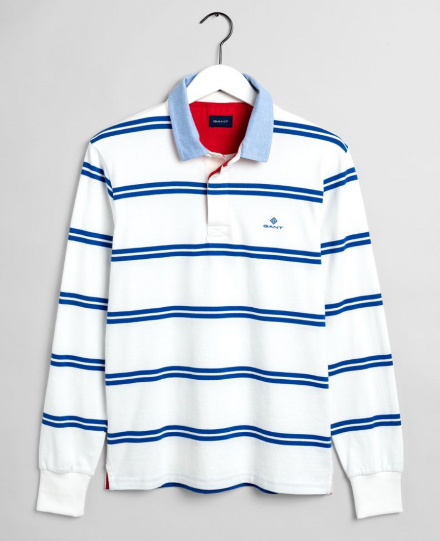 2005008 422 Gant Men's Stripe Rugger Polo Shirt for sale online ireland white