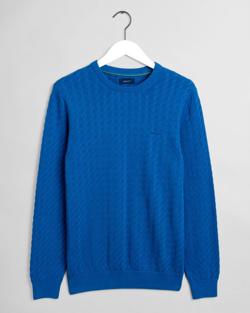 8030070 449 Gant Cable Crewneck Men's Jumper for sale online Ireland cobalt blue
