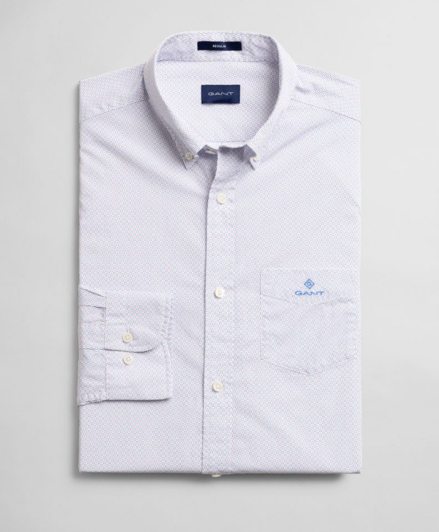 3007770 110 Men's Regular Fit Gant Print Shirt for sale online ireland white