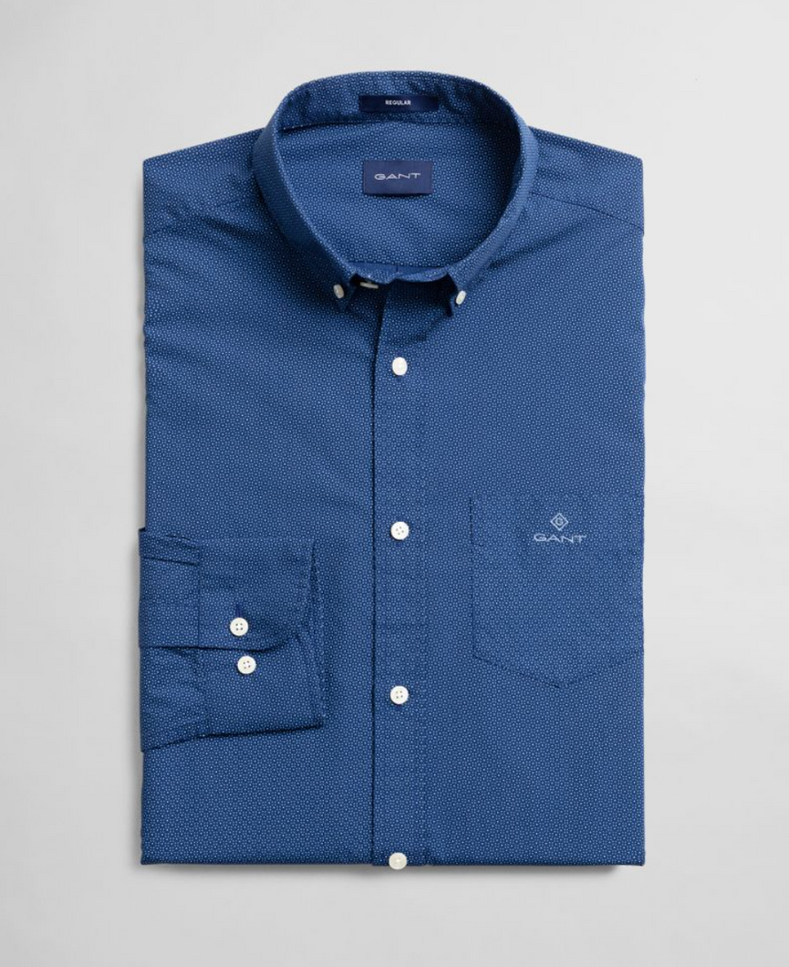 3007770 418 Men's Regular Fit Gant Print Shirt for sale online ireland deep blue