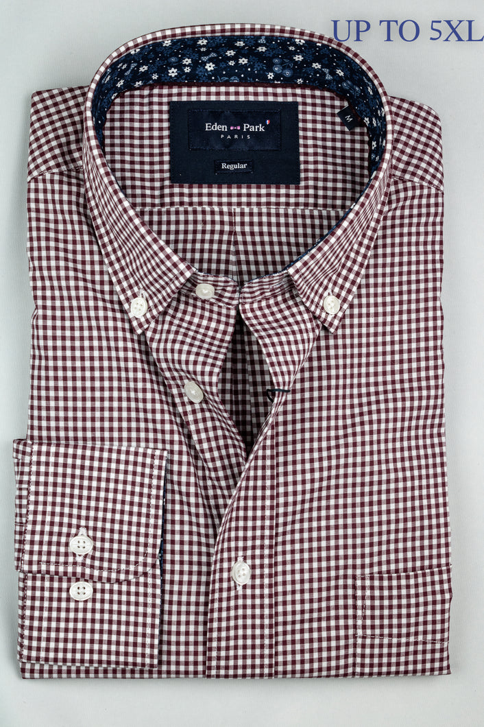 Eden Park H20CHECL0044 Burgundy Gingham Men's Shirt for sale online ireland