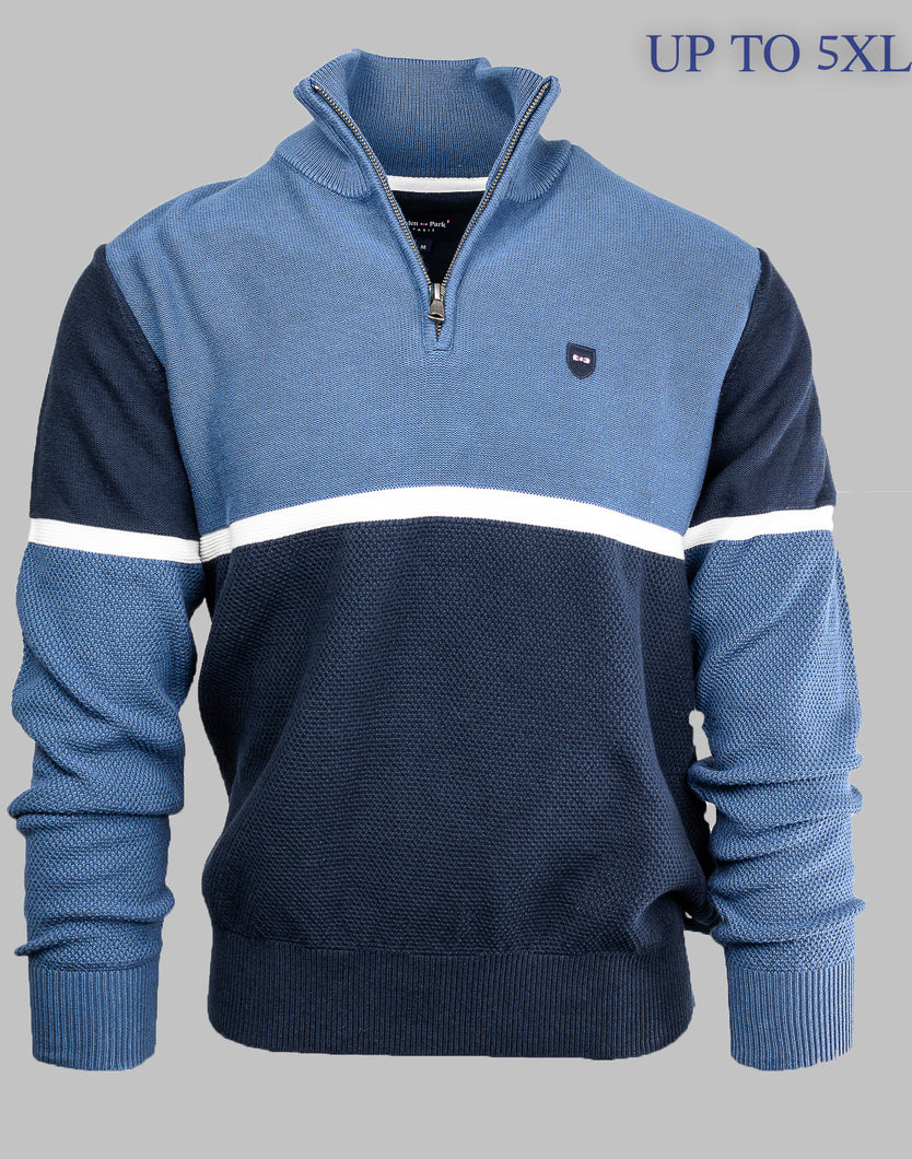 Eden Park H20MAIPU0024 | Colour Block Half Zip Jumper