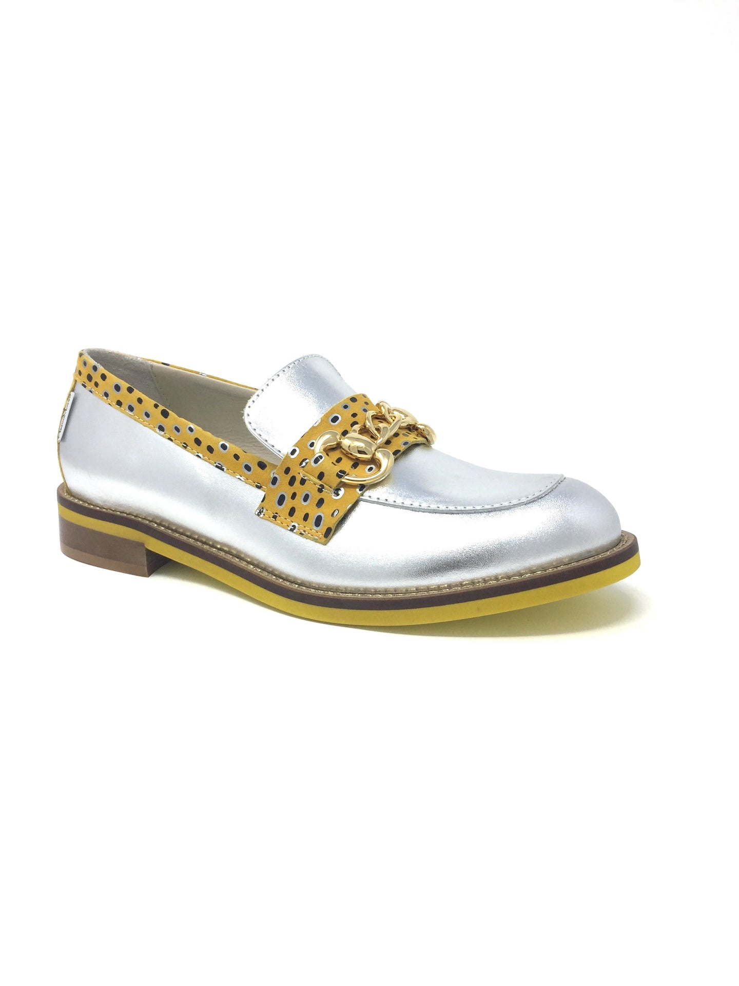 H840 Marco Moreo Bice Ladies Silver & Leopard Print Moccasin Shoe for sale online ireland