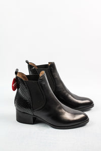 C-5124 Wonders Black Elasticated Ankle Boots with Block Heel for sale online ireland
