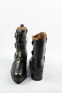 Wonders | Black Ankle Buckle Boots
