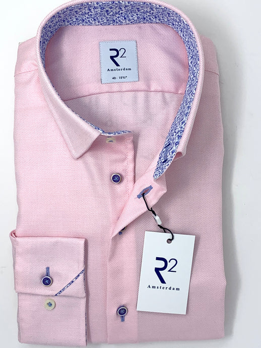 Pink Shirt with Blue Buttons