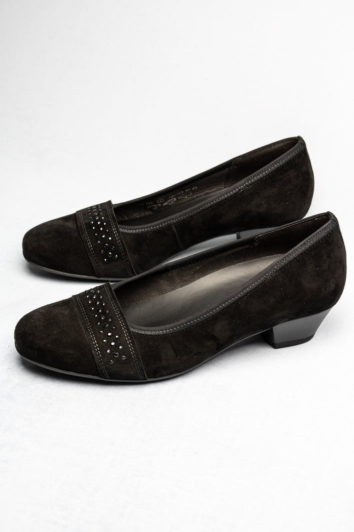 56.132 Gabor Comfort Wide Low Heel Court Shoes Black for sale online ireland