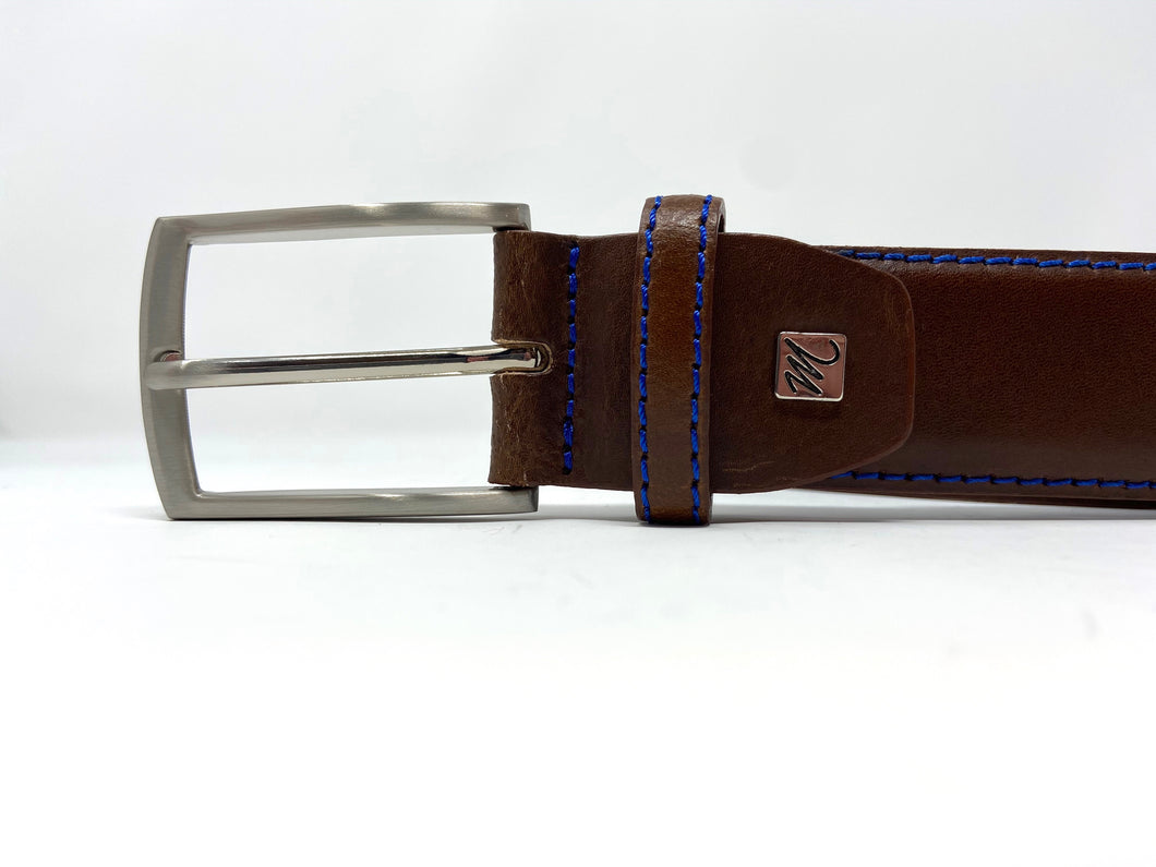 Michaelis | Cognac Leather Belt with Blue Stitch