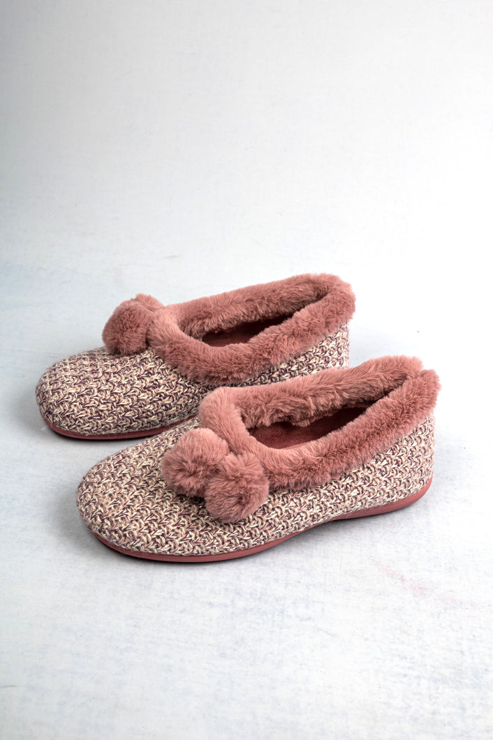 Lotus Alice | Knitted Upper Slippers with Pom-Pom Detail