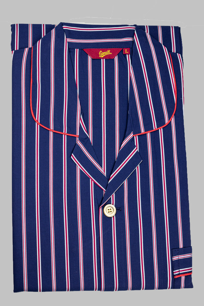 Somax STR3 Men's Navy Striped Pyjamas