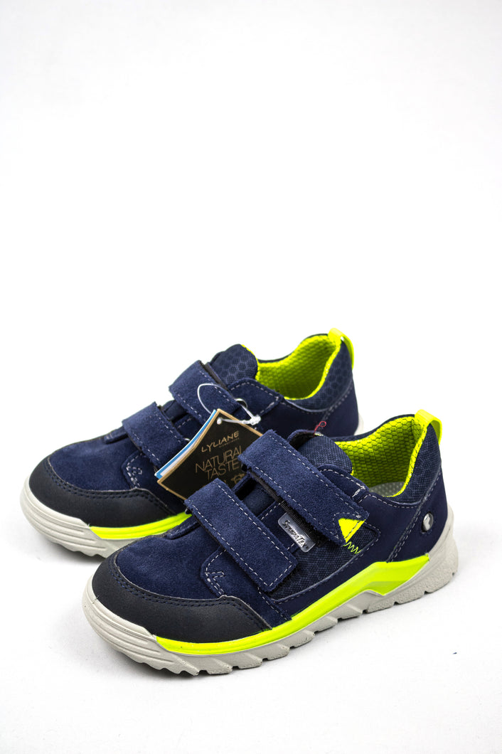 Ricosta 72.4723200 | Navy Boys Trainers with Lime Contrast