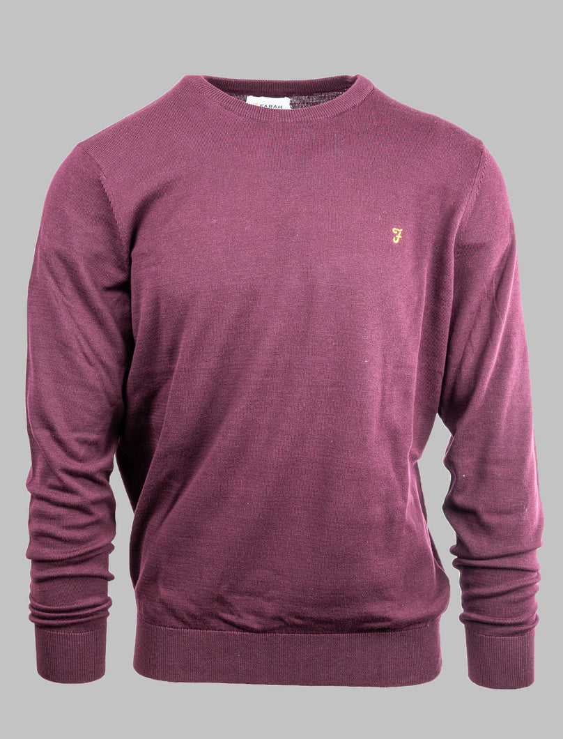 Farah F4GS9067 626 Burgundy Crew Neck Knit for sale online ireland