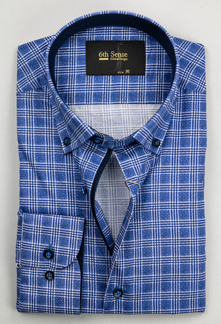 6th Sense BD Print | Regular Fit Shirt with Navy Contrast