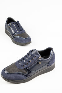 Mac 20659 | Navy Lace & Zip Trainers